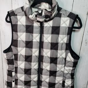 Kensie Jeans Blk/Wh Buffalo Check Quilted Vest